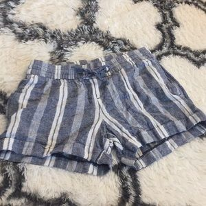 Blue and white striped short shorts